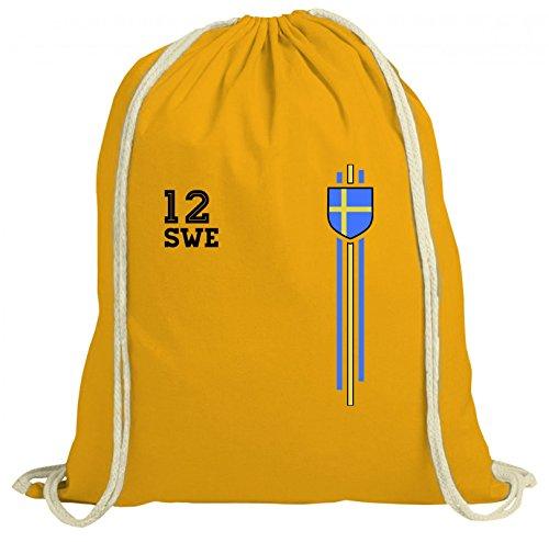 Sverige Sweden World Cup Fussball WM Fanfest Gruppen natur Turnbeutel Rucksack Gymsac Streifen Trikot Schweden Gelb Natur