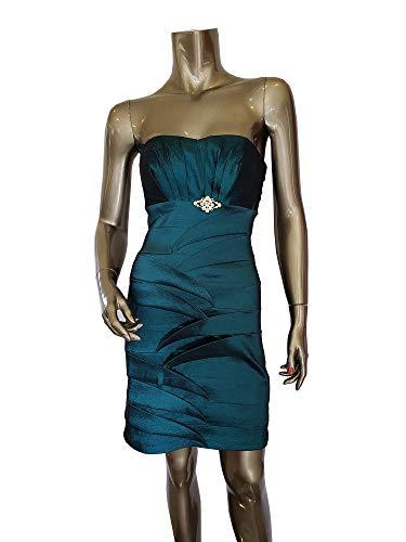 (Dancing Queen Pencil Skirt Short Teal Cocktail Dress Strapless Stretch Taffeta, M)