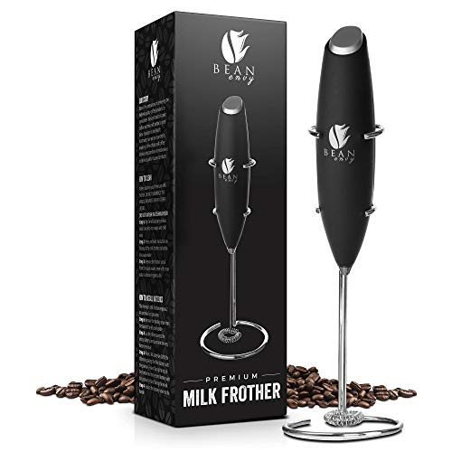 Bean Envy Milk Frother Handheld - Perfect For The Best Latte - Whip Foamer - Includes Stainless Steel Stand - Black