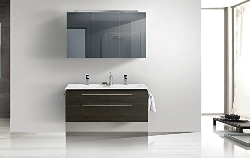 Badmöbel Set mit Spiegelschrank und Doppelwaschtisch 120 cm ... | {Badmöbel doppelwaschtisch günstig 60}