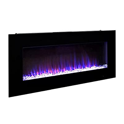 Pacific Heat 42 inch LED Streamline Flat Wall Mount Electric Fireplace - Black