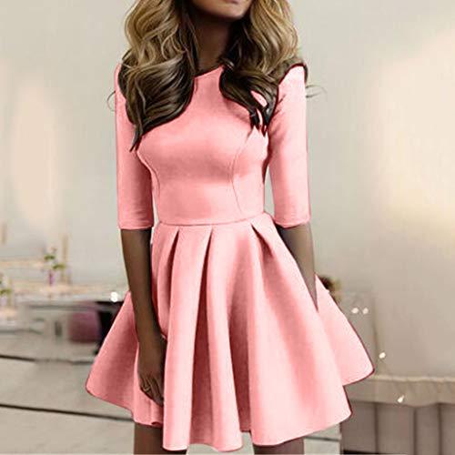 Rugoso Moda Grande Vestiti Aderente Mezza Donna Sottile Mini M Manica Pieghettato Xl L S O Abito Jiameng Rosa Casual collo Ondulato nPIqxYffw