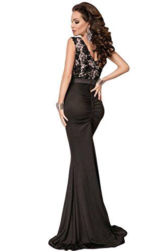 Nuevas señoras negro V Volver encaje de sirena Maxi vestido de ...