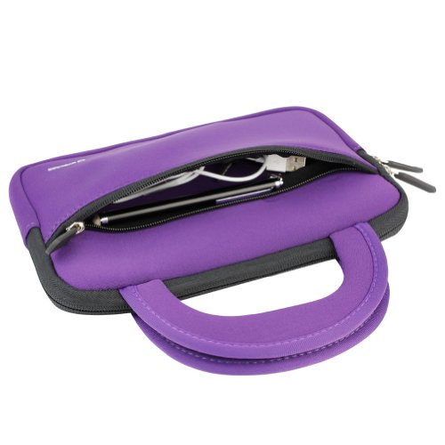 Evecase Neoprene Slim Briefcase w/ Handle & Accessory Pocket/ Ultra Portable Travel Carrying Pouch for Samsung Galaxy Tab E Lite 7.0 / Tab A 7.0 / Tab A 8.0 / Tab E 8.0 / Tab S2 - Purple by Evecase (Image #5)