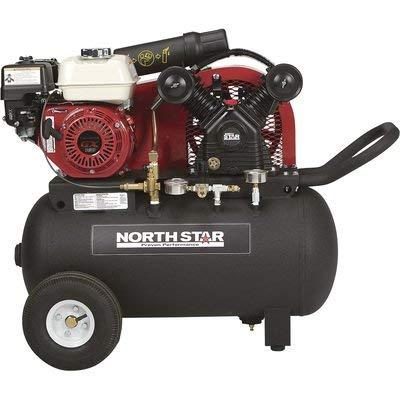 NorthStar Portable Gas-Powered Air Compressor – Honda 163cc OHV Engine, 20-Gallon Horizontal Tank, 13.7 CFM at 90 PSI