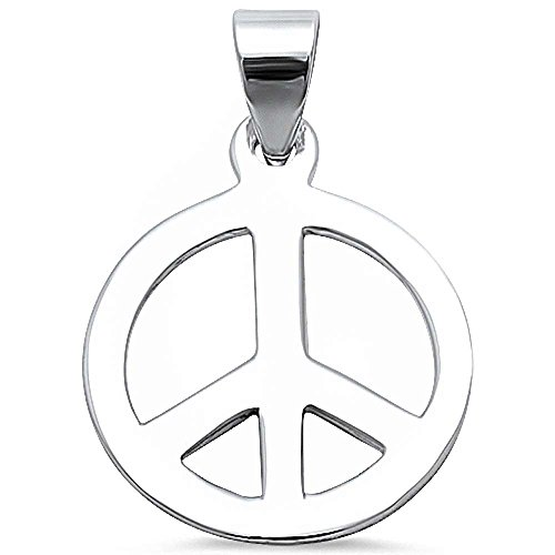 (Oxford Diamond Co Peace Sign .925 Sterling Silver Pendant 347267)