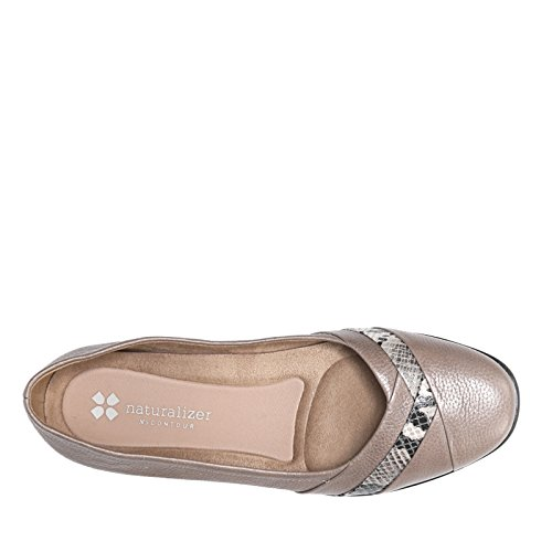 Naturalizer Womens Jaye Flat In Pelle Taupe / Serpente Stampato