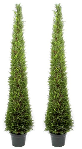 Admired By Nature 6' Plastic Pot Artificial Cypress Leave Tower Cone Topiary Plant, Twin Pack