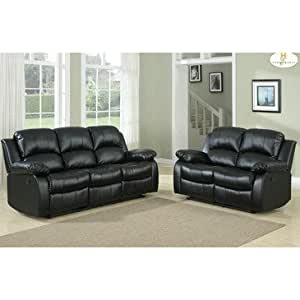 Homelegance cranley 2 piece living room set in black leather kitchen dining 2 piece leather living room set