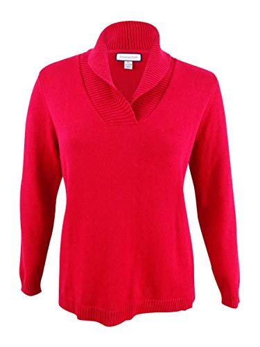 Charter Club Womens Long Sleeves Pullover Shawl-Collar Sweater Red XL ()