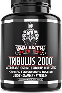 - Goliath by Dr. Emil - Max Dose 1950 mg Tribulus Terrestris Extract Powder w 45% Steroidal Saponins - Libido & Testosterone Booster (90 Veggie Capsules)