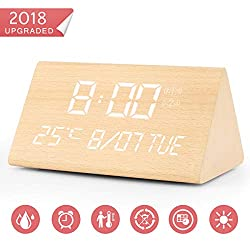 Warmhoming Wooden Digital Alarm Clock with 7 Levels Adjustable Brightness, Voice Command Electric LED Bedside Travel Triangle Alarm Clock, Display Time Date Week Temperature for Bedroom Office