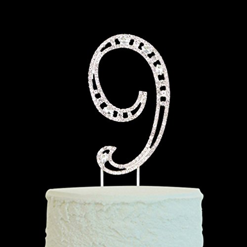 Big Number 9 Cake Topper Silver Rhinestone for 9th Birthday & Anniversary & Wedding Party Decoration Supplies