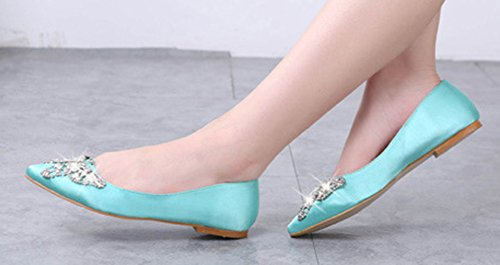 Aisun Donna Confortevole Strass Moda Low Out Wear To Work Office Scarpe A Punta Accollate Su Scarpe Flat Light Blue