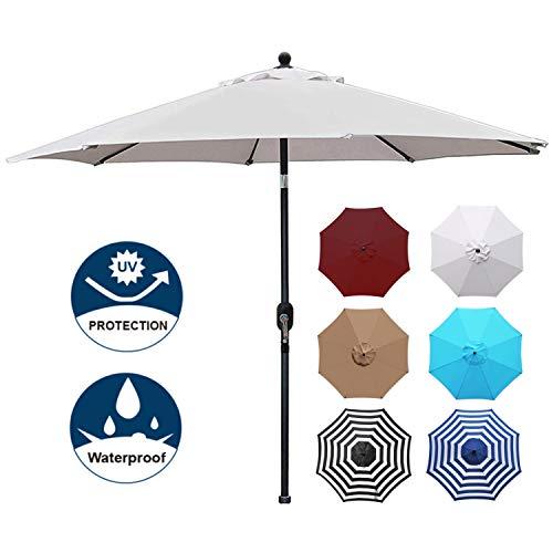 Blissun 9' Patio Umbrella Aluminum Manual Push Button Tilt and Crank Garden Parasol (Grey) (Push Button Tap)