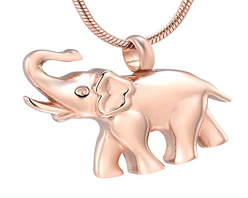 Kai Urns Jewelry Elephant Pet Urn Cremation Jewelry Pendant Memorial Ashes Holder (Rose Gold) ()