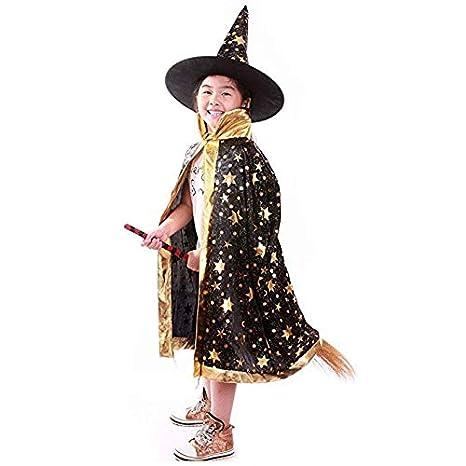 Halu Costumi di Halloween Strega Mago Mantello con Mantello e Cappello  Cappello del Mago Bambino Bambini 7aa066763313