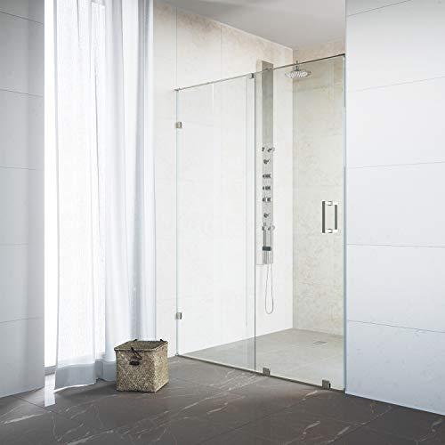 (VIGO VG6045STCL6473 Ryland 62 - 64 inch Sliding Frameless Shower Door with 3/8