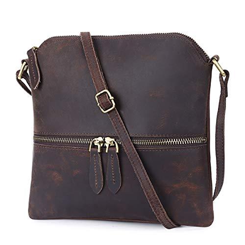 S-ZONE Lightweight Vintage Genuine Leather Small Crossbody Purse for Women Slim Shoulder Bag (Dark Brown)
