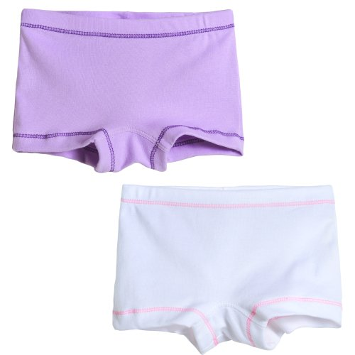 City Threads Girls' 2-Pack BoyShorts Perfect for Sensitive Skin SPD Sensory Friendly Clothing For School Play and Under Dresses Bike and Dance, Lavender/White, 2T