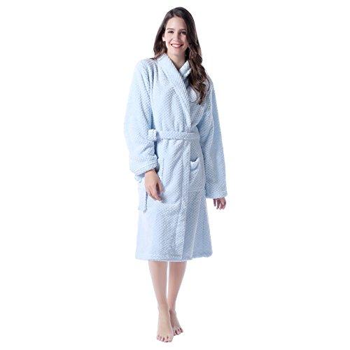 Paño grueso y suave caliente Richie Casa de la Mujer Albornoz Bata RHW2317 Azul claro
