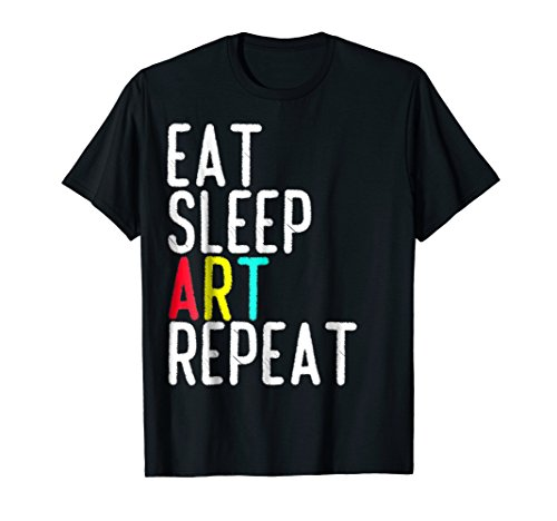 Eat Sleep Art Repeat T shirt - Funny Artist Creative Gift Artist Kids Dark T-shirt