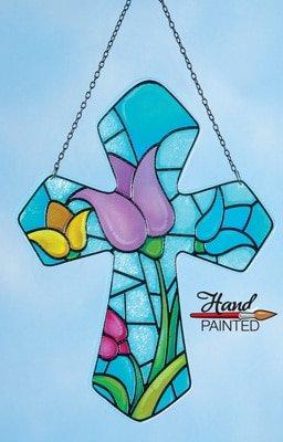Hand Painted Cross Tulips Suncatcher Stained Glass Spring Easter Sun Catcher (Stained Glass Wreath Suncatcher)