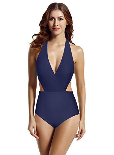 (zeraca Women's Surplice Neckline High Waisted Halter One Piece Monokini Swimsuit (Blue Depths, Medium 8-10))