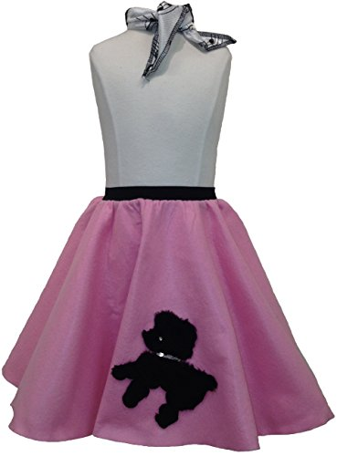 Toddler Poodle Skirt with Scarf (Light Pink) -