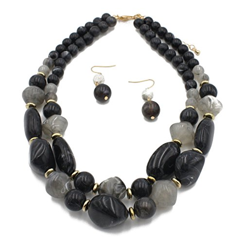 Ufraky Women's Acrylic Candy Color Double Layer Pendant Statement Necklace Earrings Set (Black)