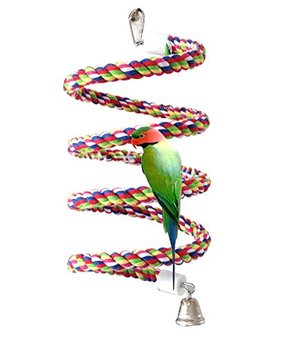 (Petsvv 0.6-Inch by 43-Inch, Bird Perch, Rope Bungee Bird Toy)