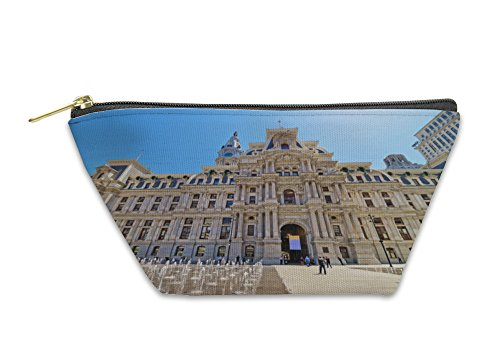 Gear New Accessory Zipper Pouch, Philadelphia City Hall With A Fountain On Penn Square, Large, - Penn Stores Square