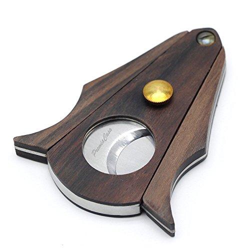 PremiaCasa Stainless Steel Double Cut Blade Zebra Wood Cigar Cutter - Black Gift Box (Single Blade Cutter Cigar)