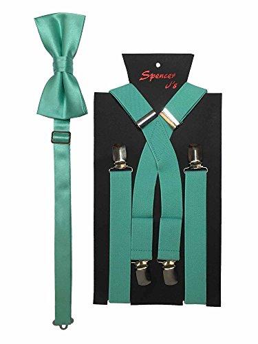 - Spencer J's Men's X Back Suspenders & Bowtie Set Verity of Colors (Mint)