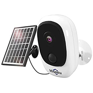 【Upgraded】 Hiseeu 1080P Solar Wireless Camera,Outdoor Security Camera,App Remote,2-Way Audio,Motion Alert,Rechargeable Batteries,IP65 Waterproof,Night Vision,2.4GHz WiFi,Support SD & Cloud Storage