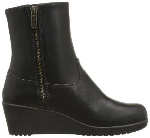 Crocs A-Leigh Leather Bootie W - Botas de cuero mujer negro - Noir (Black/Black)
