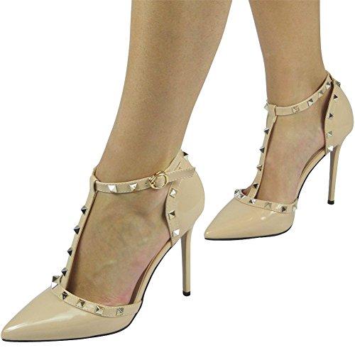 Damen T-Bar Knöchel Gurt Partei Sandalen Größe 36-41 Beige