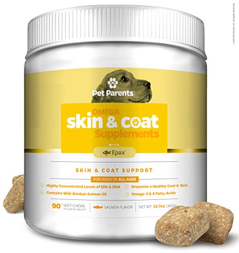 Pet Parents USA Omega 3 for Dogs 4g 90c - Dog Skin Care & Fur Vitamins for Dogs, Skin Supplement for Dogs, Omega Dog Treats, EPA & Dog DHA, Anti Itch Dog, Dog Itch Relief, Epax + Salmon Oil for Dogs (Best Dog Coat Supplement)