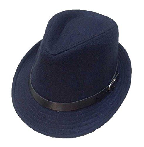 Unisex Mode Simple Herbst-Winter 5 Farboptionen Gurtdekoration Fedora Trilby Hüte Jazzhut Marineblau