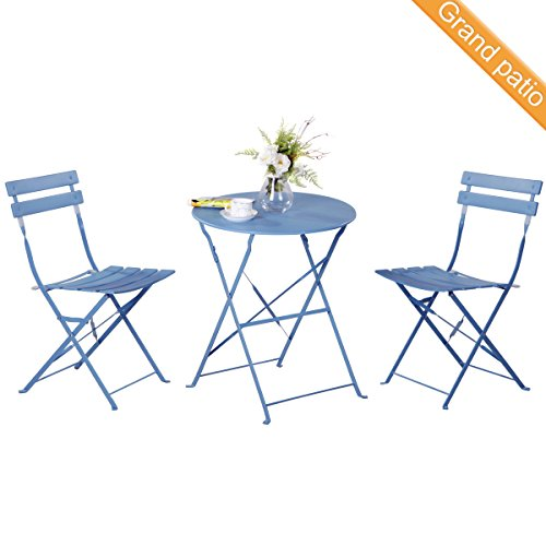 Bistro Counter Set Height (Grand patio Premium Steel Patio Bistro Set, Folding Outdoor Patio Furniture Sets, 3 Piece Patio Set of Foldable Patio Table and Chairs, Blue)