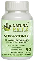 Natura Petz Stix and Stones Renal, Kidney, Liver and Stone Support for Pets, 90 Capsules, 350mg Per Capsule