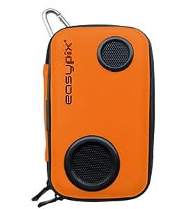 Easypix Sound-Box - Funda con altavoces integrados para cámara de fotos / teléfono móvil / MP3, 2 W, color naranja