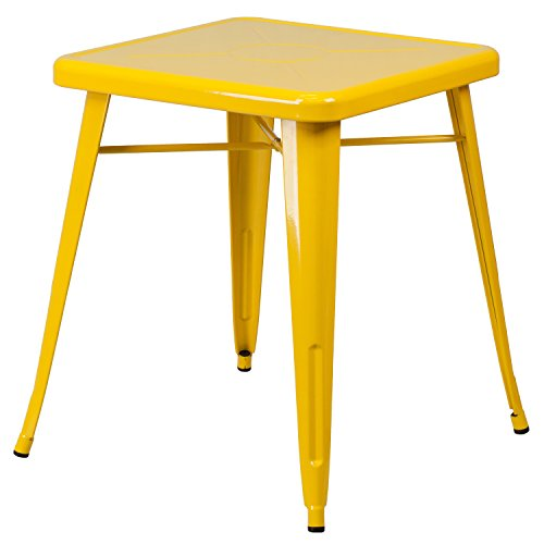 Single Piece Square Metal Yellow Dining Table, Contemporary Style,Solid Black Finish, Assembly Required, Retro-Modern Look, Versatile Cafe Table, Engraved Designer Print, Commercial & Residential Use