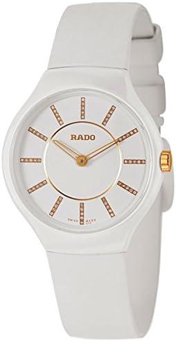 Rado True Thinline White Ceramic Womens Watch Quartz Rubber Strap R27958709