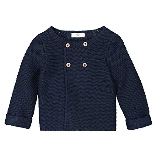 Garter Stitch Jacket - La Redoute Collections Baby's Cotton Garter Stitch Cardigan, Prem-3 Years Blue Size 12 Months (74 cm)