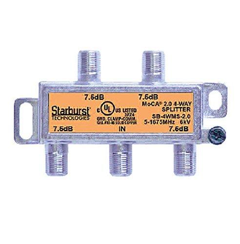 Starburst 4-Way Coax Splitter Horizontal SB-4WMS-2.0 MOCA 2.0 CATV FIOS Verizon Frontier Compatible