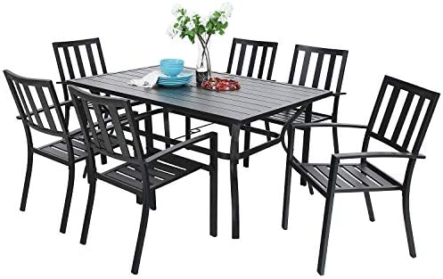 Awe Inspiring Phivilla 7 Piece Metal Outdoor Patio Dining Bistro Sets With Umbrella Hole 60 2 X 37 8 Rectangle Patio Table And 6 Backyard Garden Outdoor Chairs Caraccident5 Cool Chair Designs And Ideas Caraccident5Info