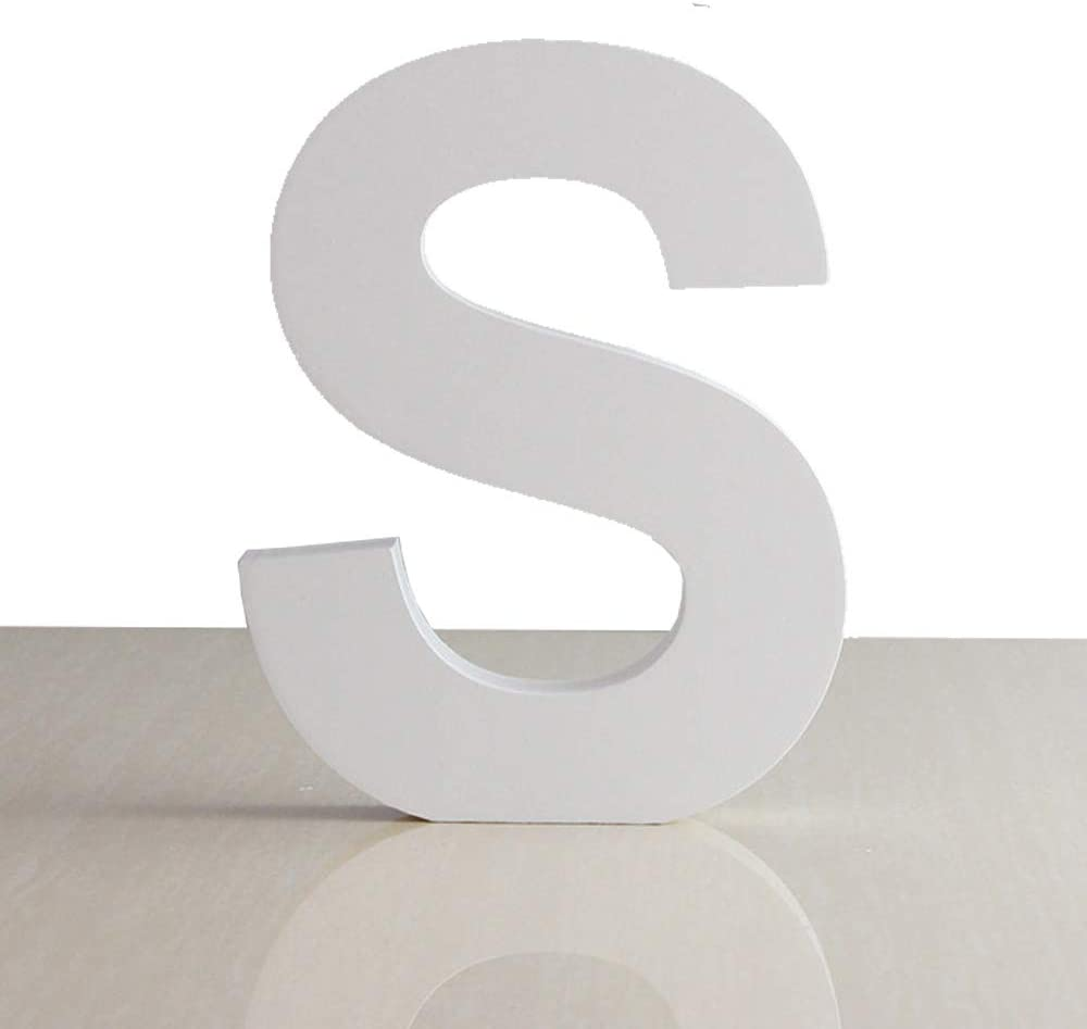 ZOOYOO White Wood Letter S for Decoration Wall Letters Marquee Alphabet DIY White Words Sign Hanging for Home Bedroom Office Wedding Party Decor
