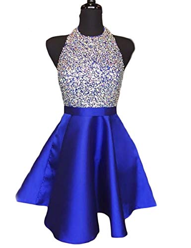 (LCRS Juniors Short Prom Dresses with Pockets Satin Beaded Halter A-Line Formal Homecoming Dress 4 Royal)