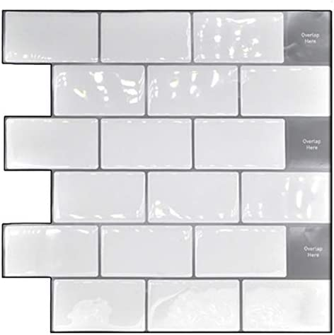 Nrpfell ピールとスティック抗スプラッシュ10X10インチ 取り外し可能な3D地下鉄壁タイル(4個パック)、キッチンまたはバスルーム用